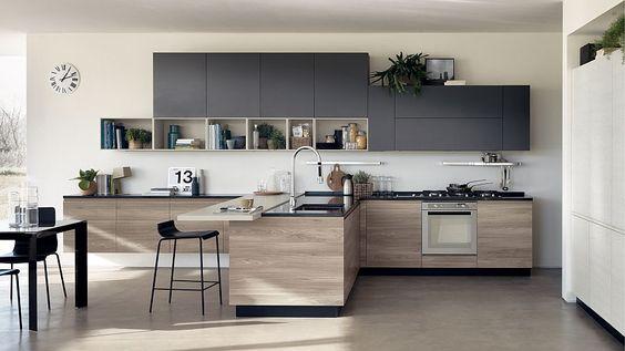 mẫu tủ bếp với gam màu trung tính hiện đại màu xám