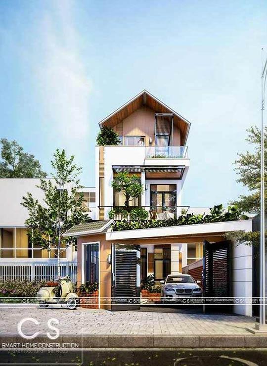 mẫu nhà phố đẹp 3 tầng hiện đại