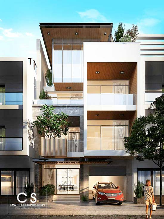 mẫu nhà phố đẹp hiện đại 4 tầng