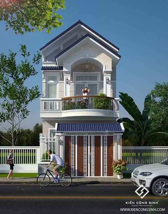 mẫu nhà phố 2 tầng mái thái