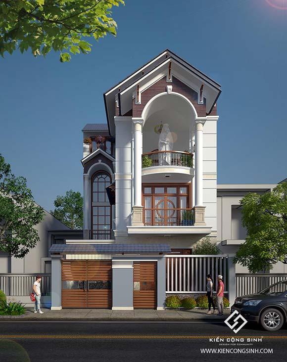 mẫu nhà phố 3 mái thái tầng