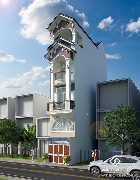 mẫu nhà phố 4 tầng mái thái