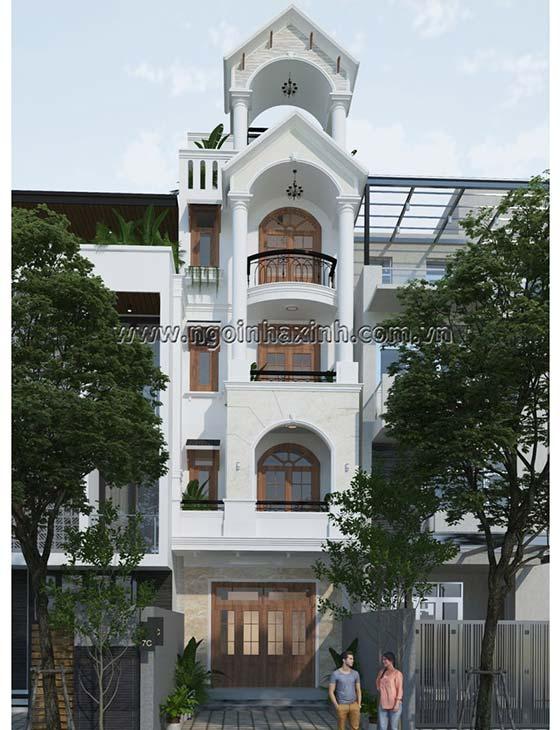 mẫu nhà phố mái thái 4 tầng