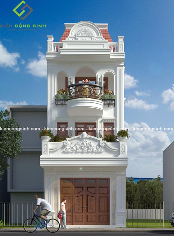 mẫu nhà phố 3 tầng tân cổ điển