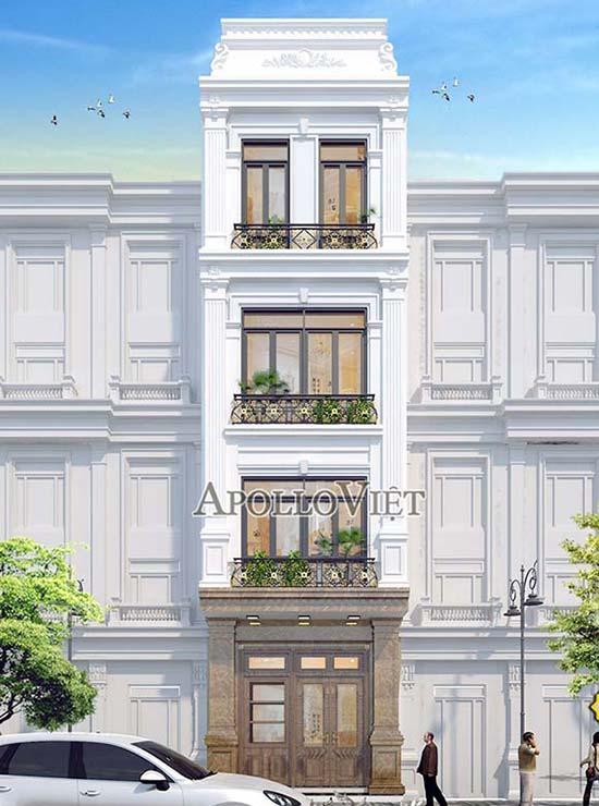 mẫu nhà phố 4 tầng tân cổ điển