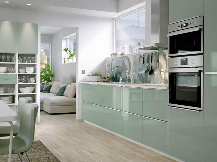 Mẫu tủ bếp đẹp chữ I phủ acrylic đẹp