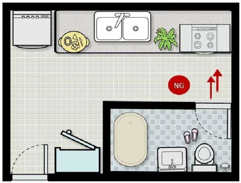 Bếp tránh đặt đối diện nhà vệ sinh