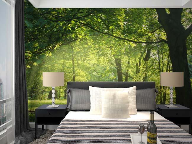 sử dụng giấy dán tường cho phòng ngủ diện tích chật hẹp