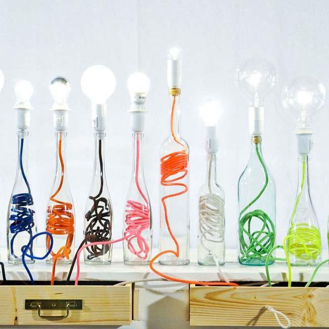 đồ tái chế chai thủy tinh tái chế thành đèn