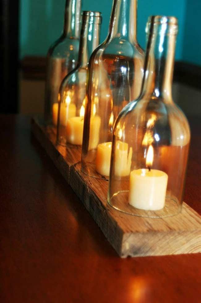 chai thủy tinh cũ làm thành chụp đèn cầy trang trí nhà đẹp
