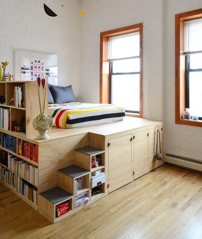 Kiểu giường tích hợp tủ lưu trữ