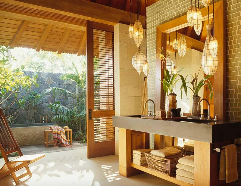đem vào phòng tắm là gỗ tự nhiên bên cạnh đá