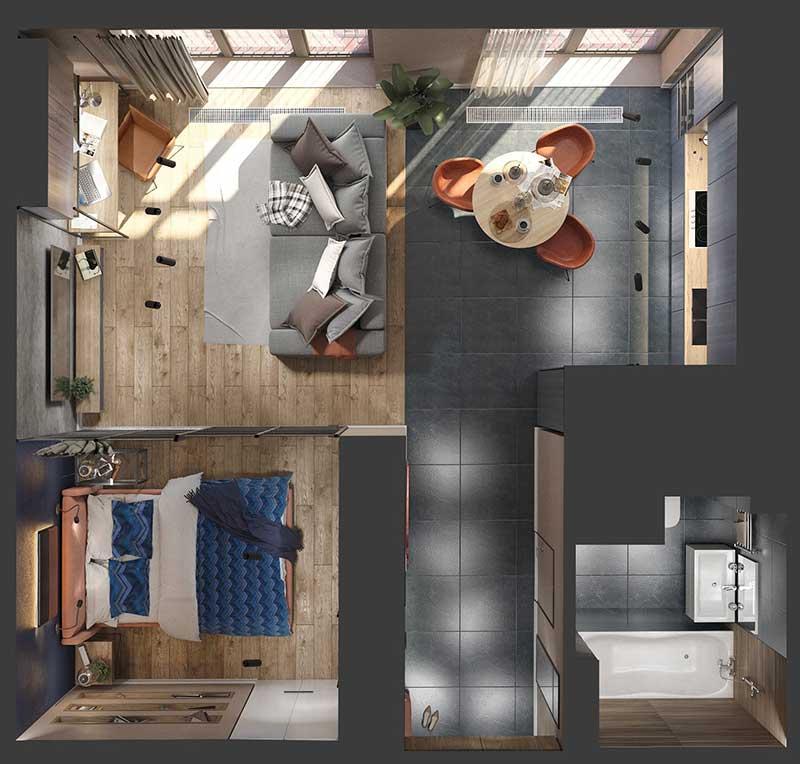 Mẫu căn hộ nhỏ đẹp by Muravina