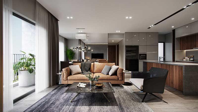 phòng khách căn hộ đẹp by Tung Le
