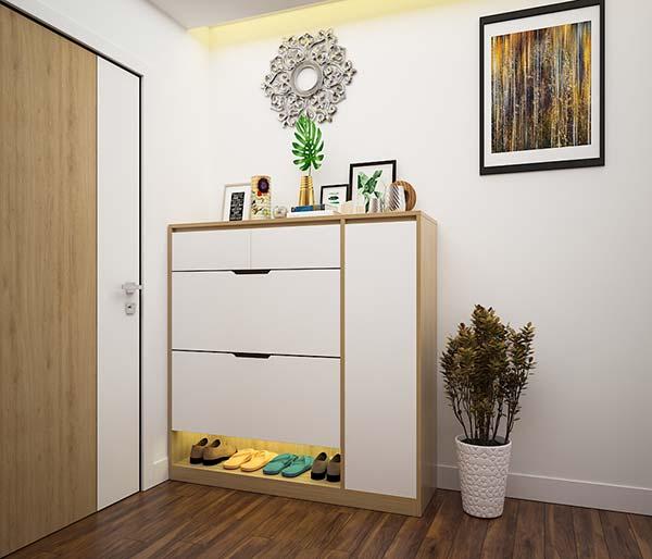 kích thước tủ giày phụ thuộc và diện tích căn phòng