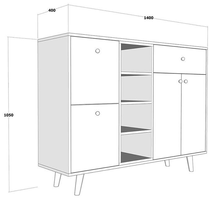 bản vẽ kích thước tủ giày 2