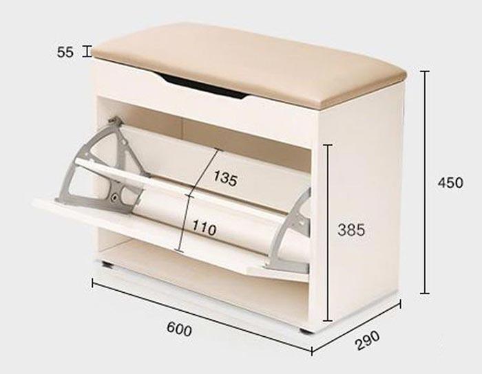 bản vẽ kích thước tủ giày 6