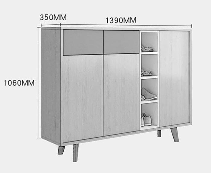 bản vẽ kích thước tủ giày 7