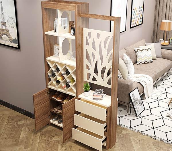 tủ giày với đa chức năng kết hợp vách ngăn phòng, kệ rượu, kệ sách, hộc ngăn kéo