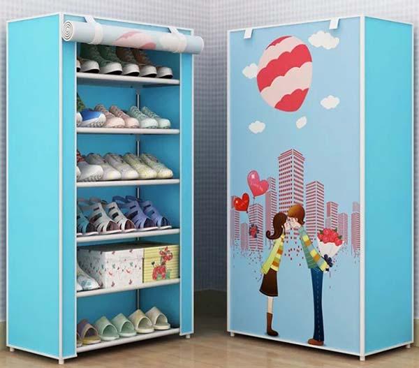 Tủ giày dép bằng vải 3D hình Valentin
