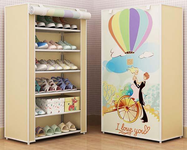 Tủ giày dép bằng vải 3D hình I love You