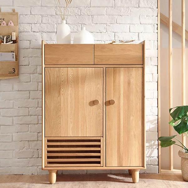 Mẫu tủ giày dép gỗ sồi tự nhiên nhiều ngăn tiện nghi