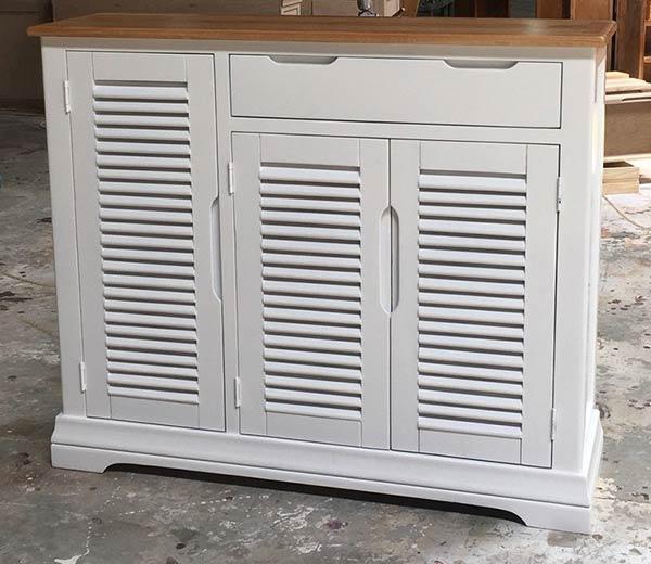 tủ giày gỗ tự nhiên sơn trắng