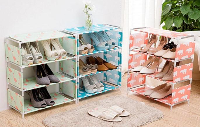 Kệ giày 4 tầng lắp ghép dễ dàng với các hoạt tiết vui nhộn