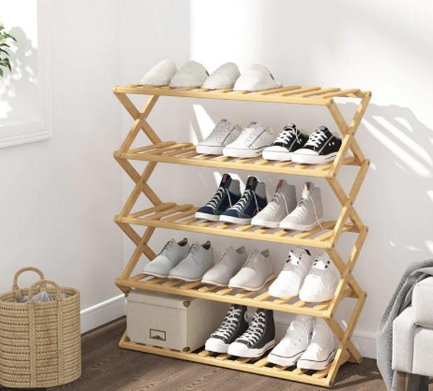 Kệ giày dép 5 tầng cách điệu giúp giày dép thông thoáng hơn