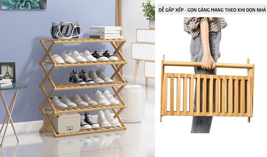 Giá giày thông minh gấp xếp gọn nhẹ, không cần lắp ráp sang trọng cho gia đình