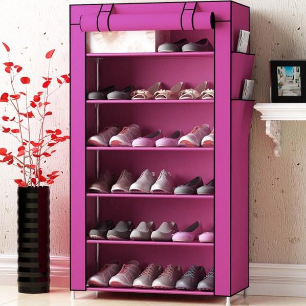Tủ giày vải 6 tầng màu hồng cho bạn gái điệu đà