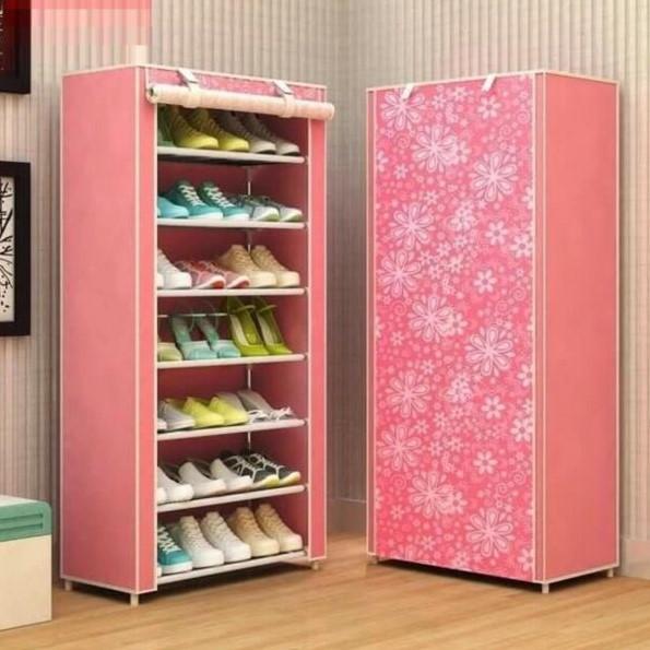 Tủ giày vải 7 tầng màu hồng phù hợp cho bạn gái