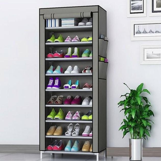 Tủ giày 9 tầng với màu xám ghi sang trọng và sạch sẽ
