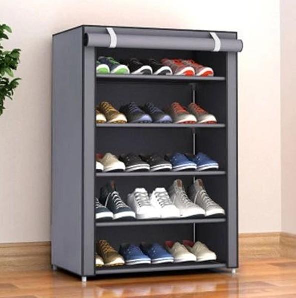 Tủ vải đựng giày 5 tầng màu ghi sang trọng