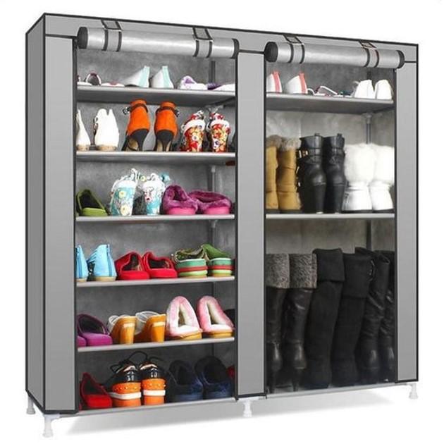 Tủ giày vải 6 tầng thiết kế 2 ngăn để giày và bốt cao cổ