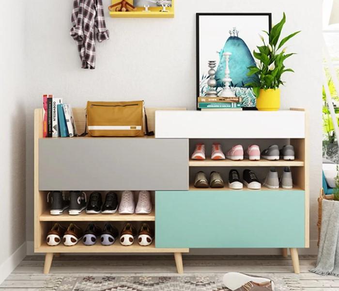 Thiết kế sinh động của tủ giày dép gỗ công nghiệp