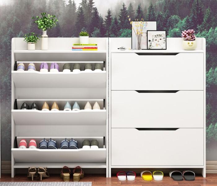 Tủ giày thông minh gỗ công nghiệp màu trắng thanh lịch