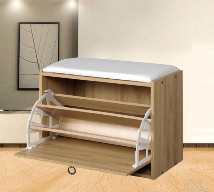 Tủ giày dép bằng gỗ tự nhiên có thiết kế đệm ngồi