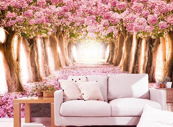 Giấy dán tường phong cảnh con đường với hai hàng cây rực rỡ