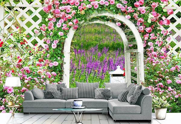 Giấy dán tường với khu vườn ngập sắc hoa