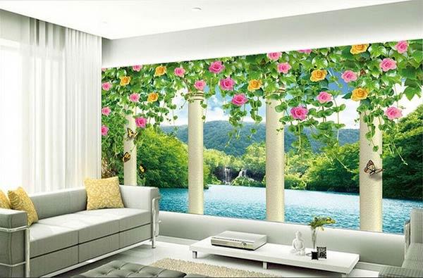 Giấy dán tường với khoảng sông nước, rừng cây mênh mông