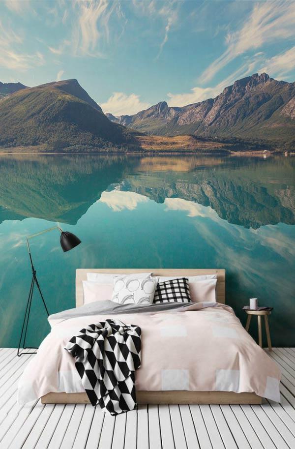 Giấy dán tường phong cảnh biển hồ mênh mông