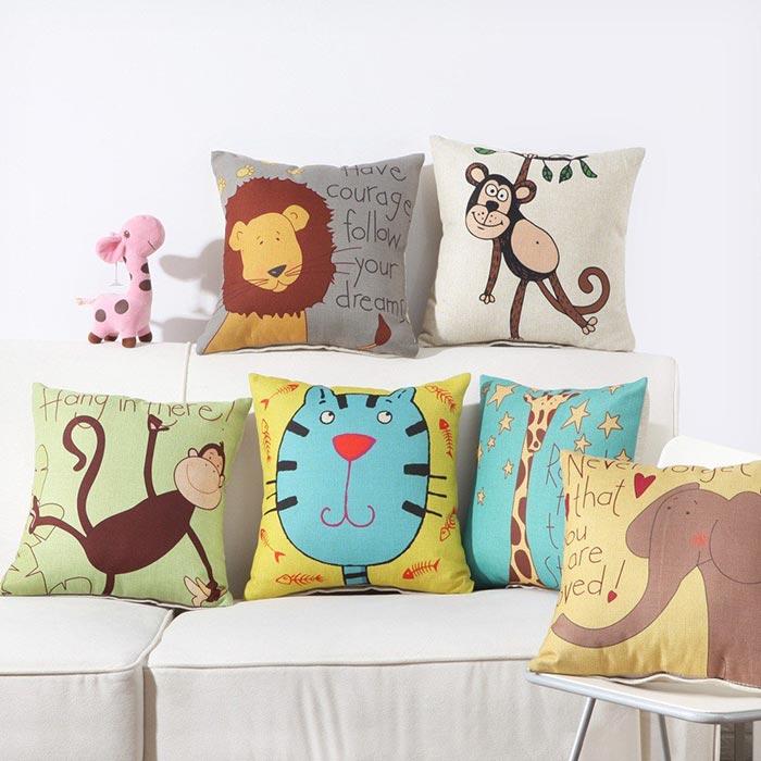 Gối tựa lưng sofa in hình động vật ngộ nghĩnh