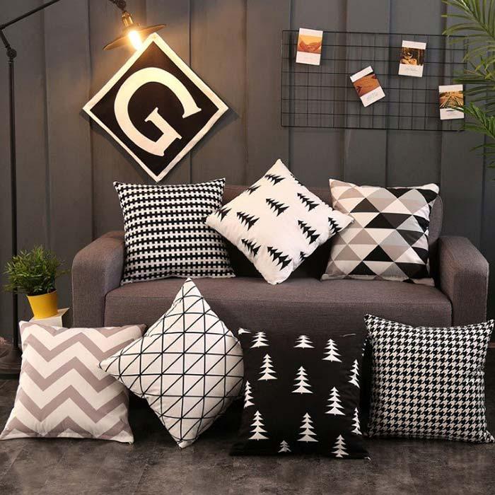 Gối Tựa Lưng Gối Sofa Hình Học Đen Trắng đem lại hiệu ứng thư giãn, hài hòa nhưng không kém phần sang trọng