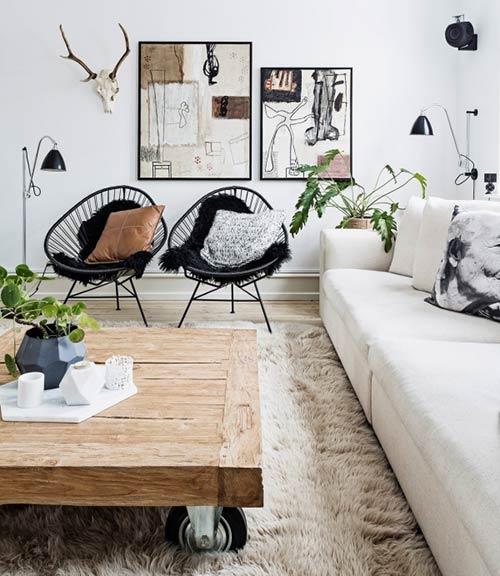 thiết kế phòng khách đẹp đúng chuẩn Scandinavian từ màu sắc, chất liệu và nội thất đi kèm