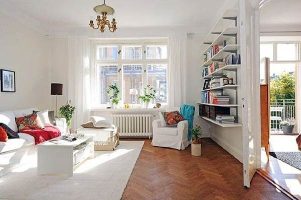 phòng khách phong cách scandinavian với rèm cửa sổ sắc trắng mỏng manh