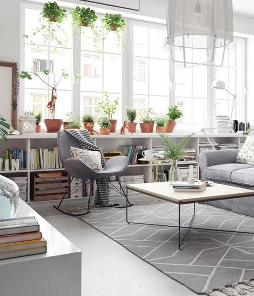Phong cách Bắc Âu nhấn nhá sắc xanh vào không gian phòng khách