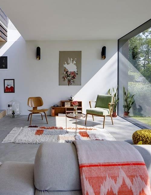 phá cách khi đặt thảm trải sàn họa tiết vào phòng khách Scandinavian