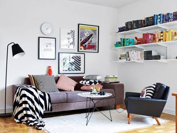 mẫu phòng khách mang tinh thần Bắc Âu có sự pha trộn màu sắc một cách hài hòa, hợp lý