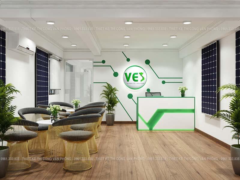 Thiết kế sảnh tiếp khách văn phòng ấn tượng